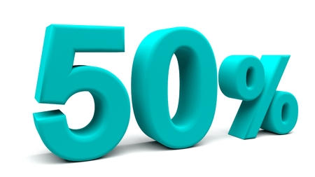 50% off. On sale. Great deal. Fifty-fifty. One half. 3D rendering. Isolated 3D text with big fonts on white background.