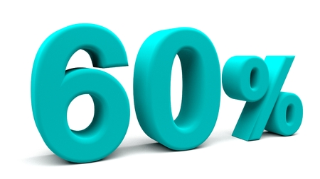 big deal: 60% off. On sale. Huge deal. 3D rendering. Isolated 3D text with big fonts on white background. Stock Photo