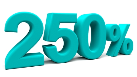 fifty: Two hundred and fifty percents 3D text, with big fonts isolated on white background. 3D rendering.