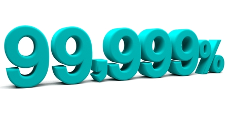 fractional: Ninety nine point nine hundred and ninety nine percents 3D text, with big fonts isolated on white background. 3D rendering.
