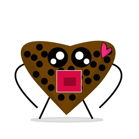 Chocolate Cartoon Vector Shape of Love, very suitable design for valentine's day