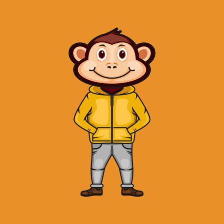Cute monkey mascot with fashionable style