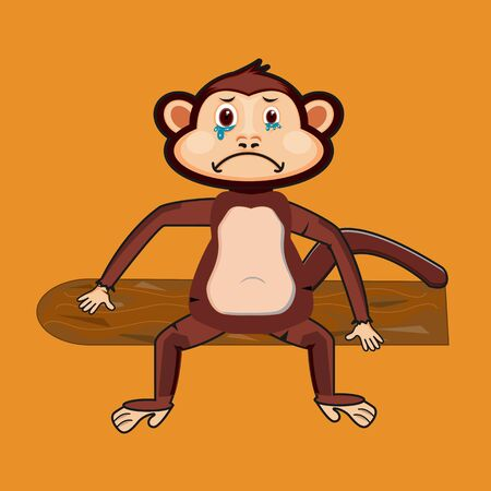 the monkey is crying and sitting on a tree trunk Illustration
