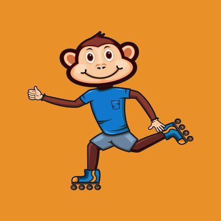 Cute cartoon monkey vector design 일러스트