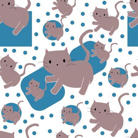 Seamless pattern with cute cartoon cats 일러스트