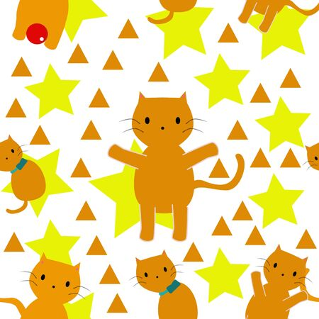 Funny cats seamless pattern vector