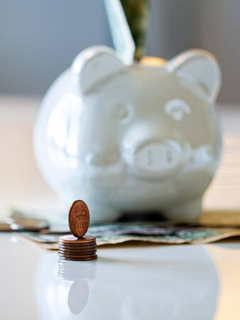 Personal finances, close-up of a piggy bank with american dollars - wealth and financial concept. White piggy bank in the foreground. Imagens