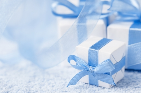 birthday present: Boxes with gifts on a blue background