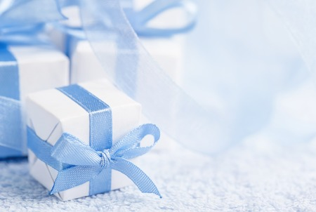 Boxes with gifts on a blue background