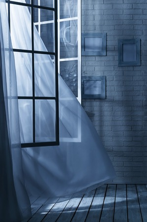 open windows: Room with the window open and the breeze on a moonlit night Stock Photo