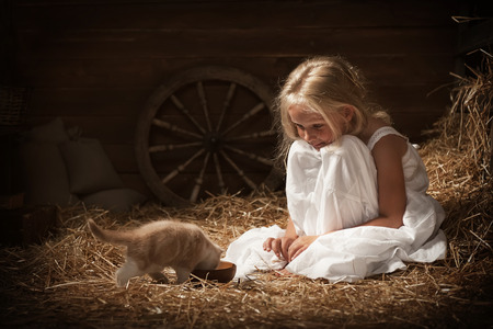 Little girl feeding a kitten milk in barn