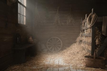 フォト スタジオで干し草を村の納屋をインストールします。