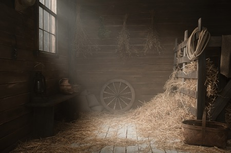 Installing a village barn with hay in a photo studio