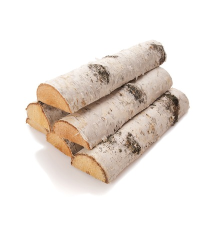 birch bark: The logs of fire wood isolated on white Stock Photo