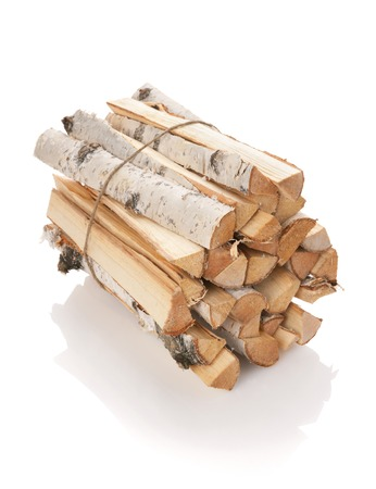 bark: The logs of fire wood isolated on white Stock Photo