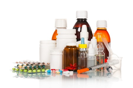 다른 의료 병 및 정제 화이트 절연 스톡 콘텐츠