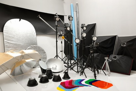 backlite: Equipment of studio by various photographic equipment Stock Photo