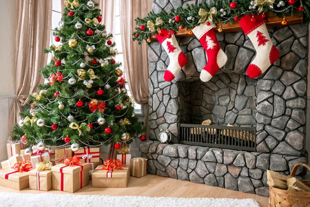 Christmas interior with natural light, Christmas tree and fireplace
