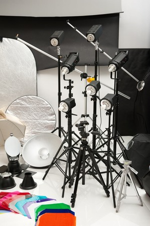 Equipment of studio by various photographic equipment Stock Photo