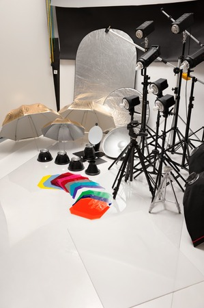 backlite: Equipment of studio by various photographic equipment Stock Photo