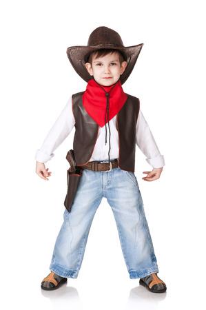 백인에 카우보이의 소송에있는 어린 소년