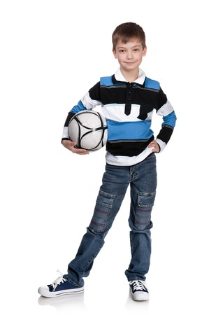 jupe: Portrait of the boy with a ball on a white background