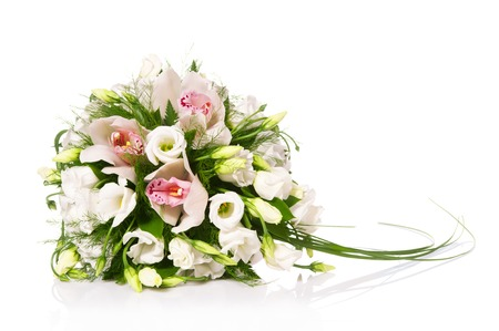 flowers horizontal: Bouquet of flowers isolated on white Stock Photo