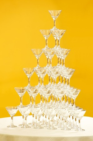 Champagne glasses, built a pyramid photo