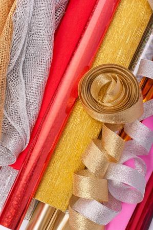 paper packing: Fondo de un papel de embalaje y cintas Foto de archivo