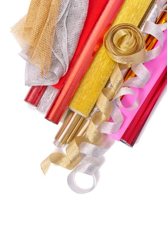 paper packing: Papel de embalaje con cintas sobre un fondo blanco Foto de archivo