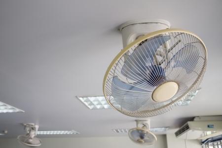 ceiling fan: electric fan on white ceiling