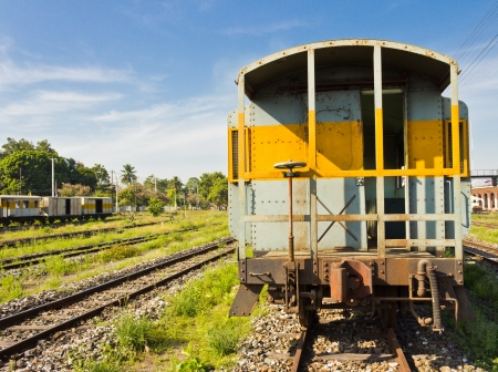 The old train on the railway in countryside ,Thailand Stock Photo - 17127325