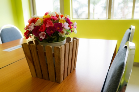 beautiful flower in meeting room photo