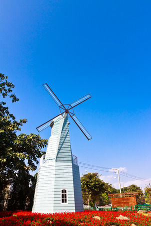 windmill in flower garden