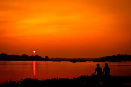 clody: silhouette sunset in Chiangsaen,north of Thailand