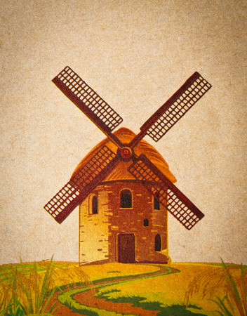 the vintage windmill on old paper
