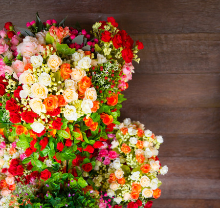 beautiful flower and wood background photo