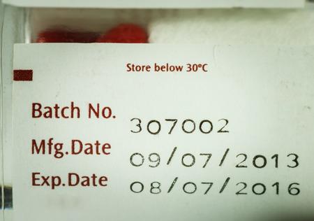expire: label expiration of medicine on bottle