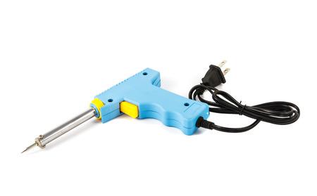 solder: blue solder on white background Stock Photo