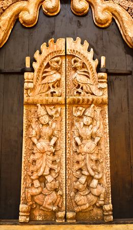 art door: wood art door in black house,Chiangrai,north of Thailand