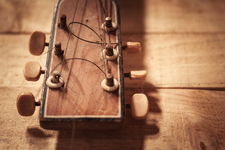 sheet music: old guitar on grunge vintage wood