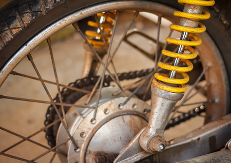 shock absorber: dirty shock absorber of motorcycle