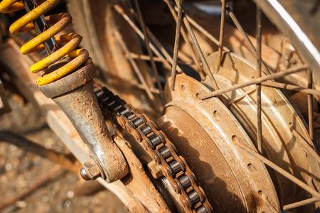 sprocket: dirty sprocket of motorcycle Stock Photo