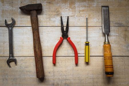 tool kit: tool kit on brown wood Stock Photo