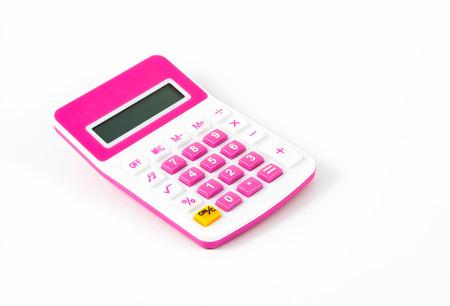 finance background: pink calculator  on white background