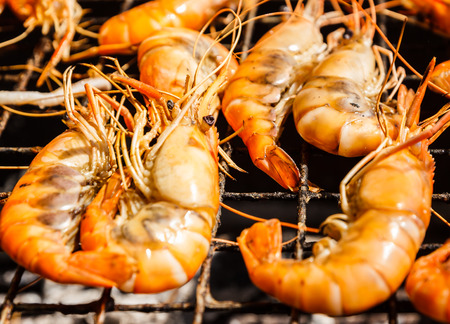 repast: smell tasty shrimp grill, delicious seafood Stock Photo
