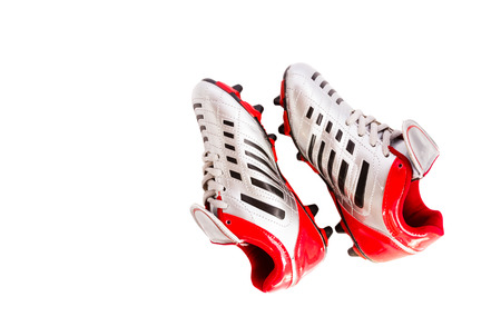 football cleats: football boots on isolated background Stock Photo