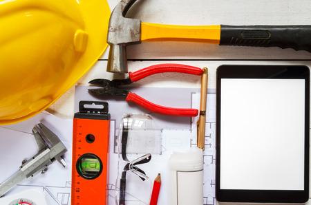 tool kit: tool kit design on white wood