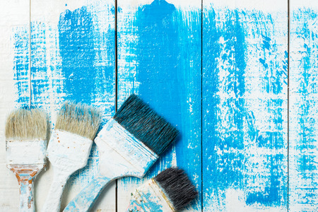 painting brush tool  on wood Stok Fotoğraf - 44691657