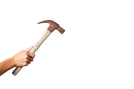 recreate: hand holding hammer with isolated background Stock Photo